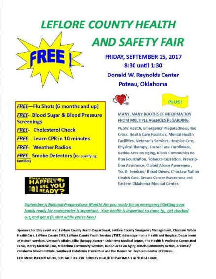 LEFLORE COUNTY FREE HEALTH & SAFETY FAIR : FREE ADMISSION