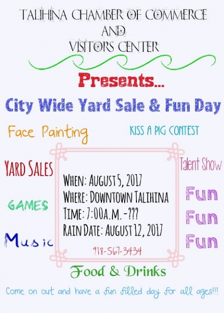 City Wide Yard Sale & Fun Day Saturday, August 5, 2017