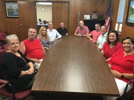 Members of the Poteau Schools Facilities Improvement Team have been instrumental in the development of the bond projects. Pictured left to right are Karen Wages, David Deaton, Brenda Sheets, Ron Hall, Jeremy Quarry, BJ Barnes, Michael Riley, Jason Waymire, Kim Wilson, Linda Newman