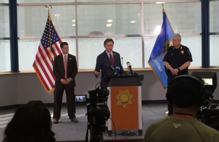 Attorney General Hunter speaks during a media availability with Tulsa County First Assistant District Attorney Erik Grayless (left) and Tulsa Police Chief Chuck Jordan (right).