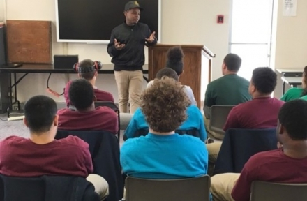 Emmy Award-winning hip-hop artist and actor Jabee, of Oklahoma City, talks Wednesday to Oklahoma Youth Academy Charter School students at the Central Oklahoma Juvenile Center in Tecumseh.